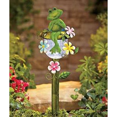 Solar Powered Frog Stake Whimsical Garden Yard Lawn Flowerbed (Lighted Lawn Stakes)
