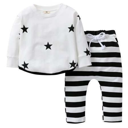 Unisex Baby Thicken Clothes Long Sleeve Star Print T-Shirt + Drawstring Striped Long Pants Outfits 2 Piece Homewear Playwear Set