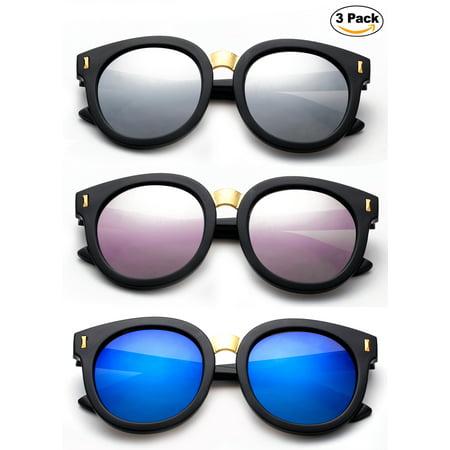 Newbee Fashion -Designer Inspired Kids Girls Teens Juniors Fashion Sunglasses Trendy Round Oversized Sunglasses for Gilrs with Flash Mirrorrd Lens UV Protection Lead Free High (Junior Aviator Sunglasses)