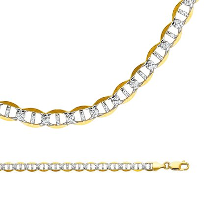 Mariner Necklace Solid 14k Yellow White Gold Anchor Chain Pave Flat Link Two Tone Big, 6.5 mm - 20,22,24,26 inch 14k White Gold Flat Link
