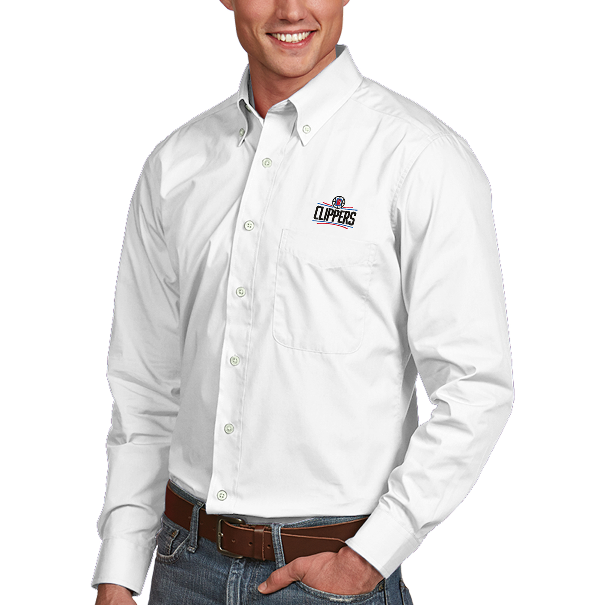 LA Clippers Antigua Dynasty Button-Down Long Sleeve Shirt - White