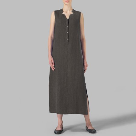 Vintage Women Dress Cotton V Neck Sleeveless Buttons Split Long Gown Solid Loose Casual Party Wear (Vintage Western Wear)