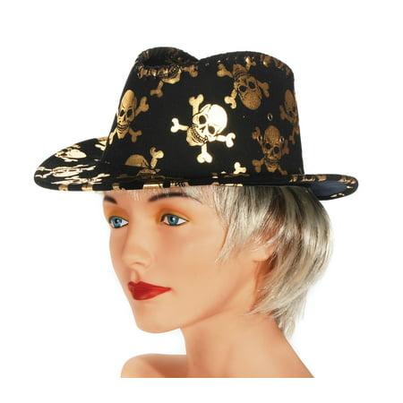 Loftus Skull & Crossbones Trilby Fedora Costume Hat, Black Gold, One Size