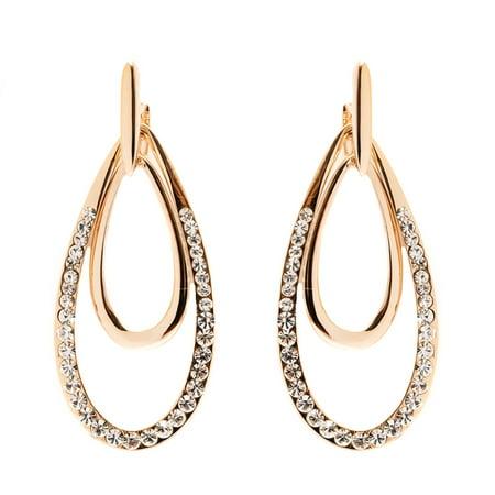 18K Gold Plated Gold and White Swarovski Elements Double Teardrop Drop Earrings (Cheap Teardrop Earrings)