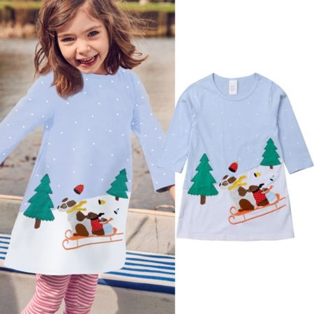 Hot Christmas Baby Girls Dress Long Sleeve Princess Party Dress Kid Clothes - Walmart.com