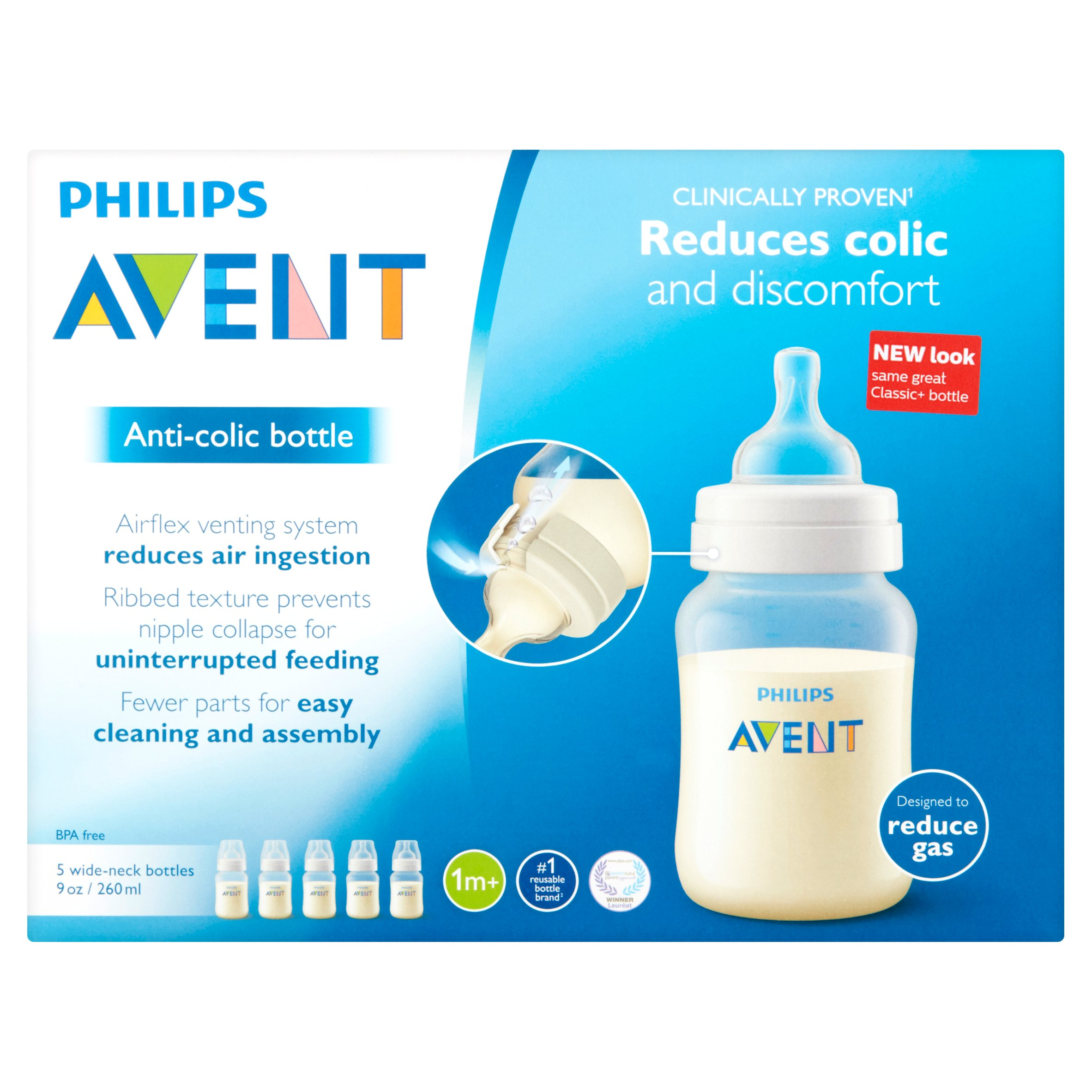 Philips Consumer Lifestyle, a Division of Philips Electronics North America Corporation Philips Avent 9 oz Anti - Colic Bottle Wide - Neck Bottles 1m+, 5 count