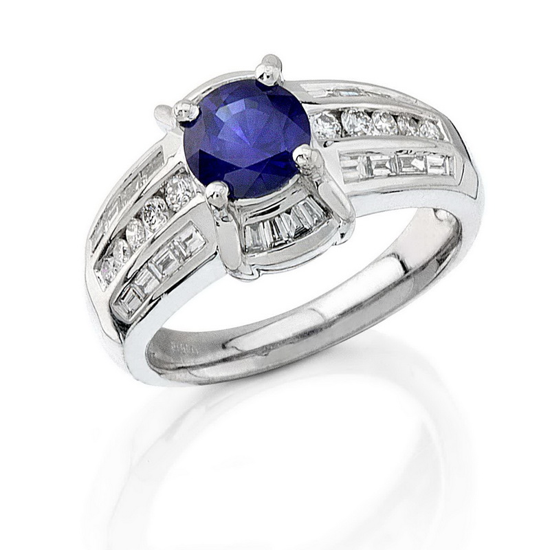PLATINUM 1.76CTW DIAMOND AND SAPPHIRE RING by