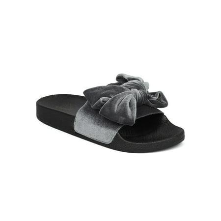 New Women Booboo-36 Velvet Bow Tie Open Toe Molded Footbed Slide