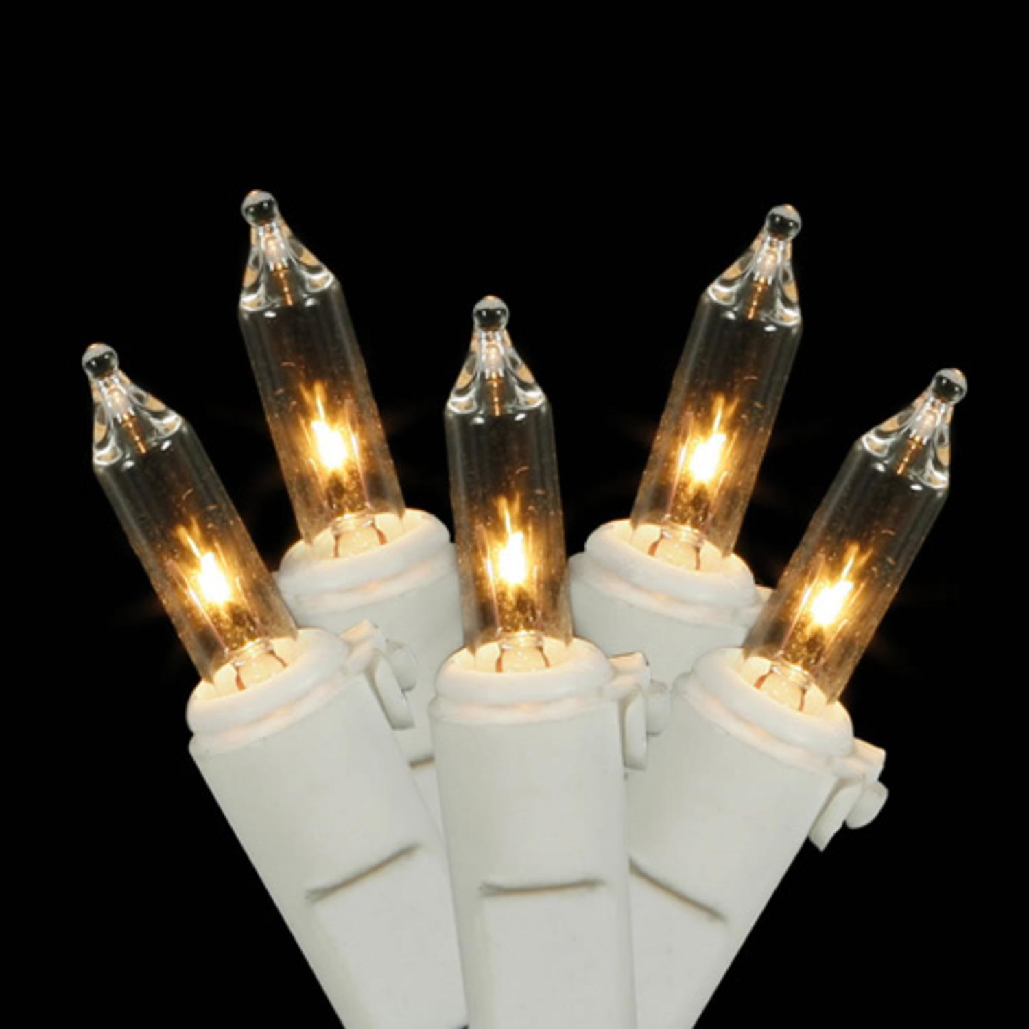 Set of 100 Clear Mini Christmas Lights - White Wire