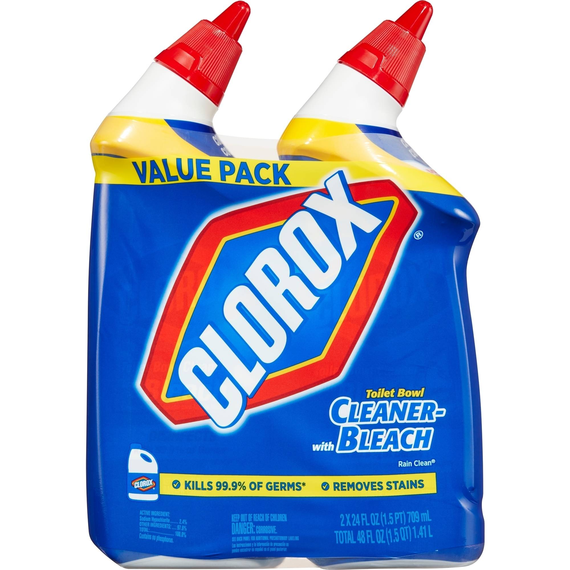 Clorox Toilet Bowl Cleaner, Rain Clean, 24 Ounces, 2 Pack