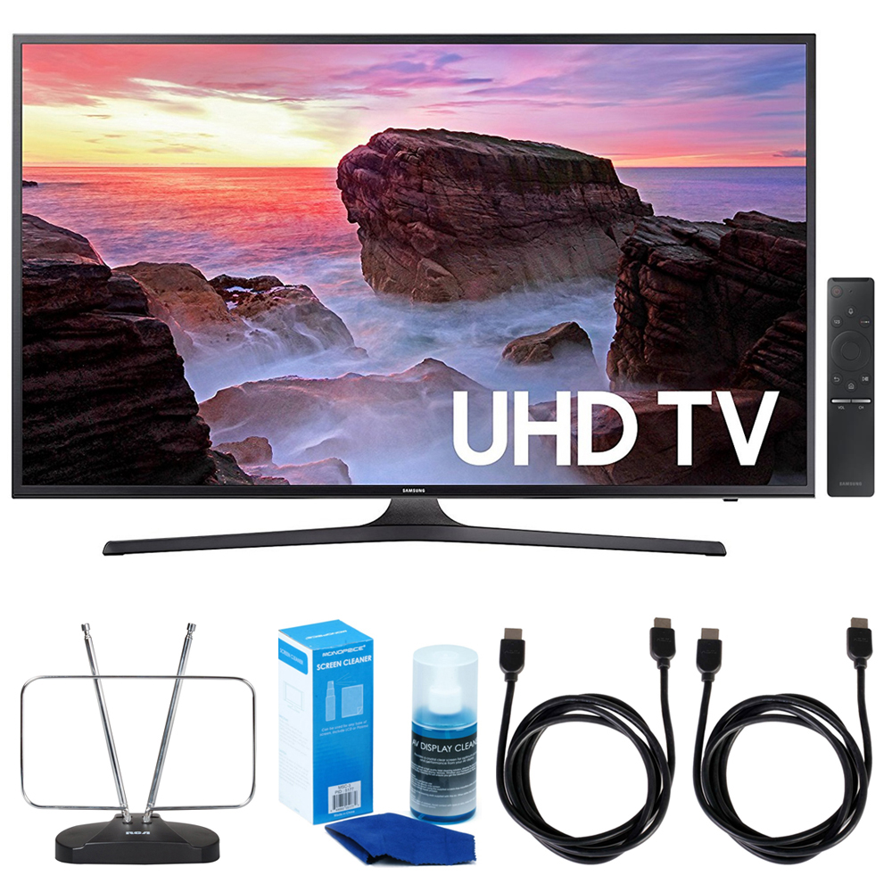 "Samsung UN43MU6300 43"" 4K Ultra HD Smart LED TV (2017 Model) w/ TV Cut The Cord Bundle Includes, Durable HDTV & FM Antenna, 2x 6ft. High Speed HDMI Cable & Screen Cleaner (Large Bottle) for LED TVs"