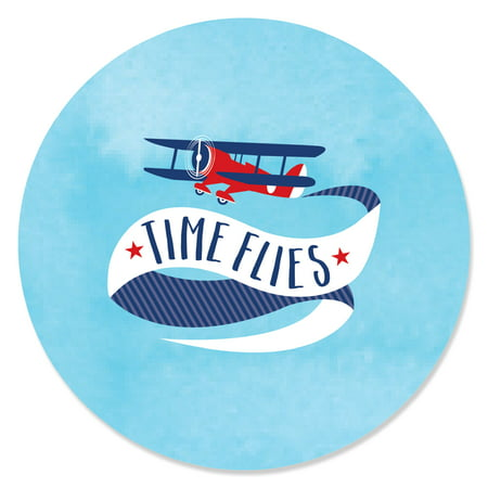 Airplane Themed Birthday Party (Taking Flight - Airplane - Vintage Plane Baby Shower or Birthday Party Circle Sticker Labels - 24)