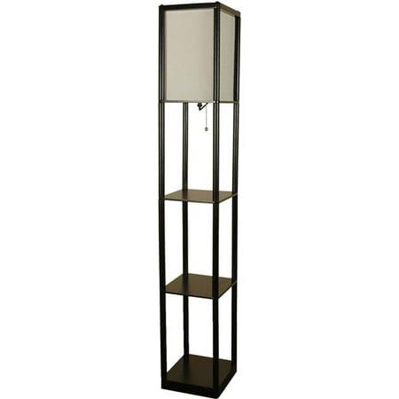 Mainstays shelf floor lamp black walmartcom for Mainstays floor lamp with table walmart