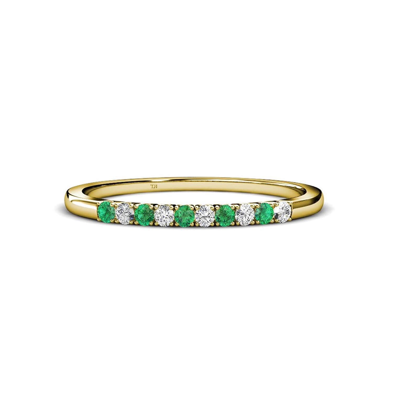 Trijewels Emerald And Diamond French Set 10 Stone Wedding Band 030 Carat Tw 14k Yellow Goldsize 45 Walmart: Green Lantern Emerald Wedding Band Set At Websimilar.org