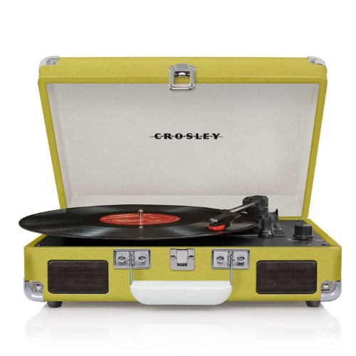 Crosley CR8005A-GR Cruiser Portable Turntable (Green) w/ Record Cleaning Kit