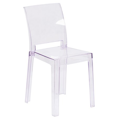 Square Back Chairs - Flash Furniture Ghost Chair in Transparent Crystal with Square Back