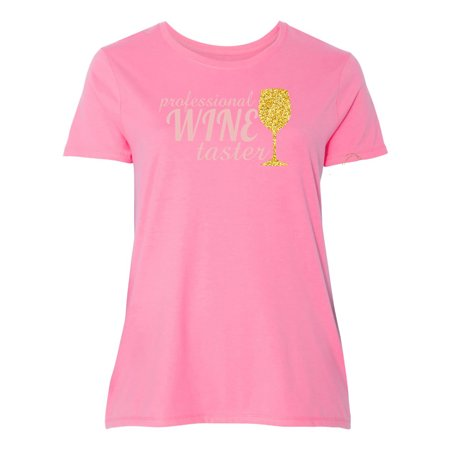 Professional Wine Taster Glitter Cup Plus Size Womens  Graphic Tees