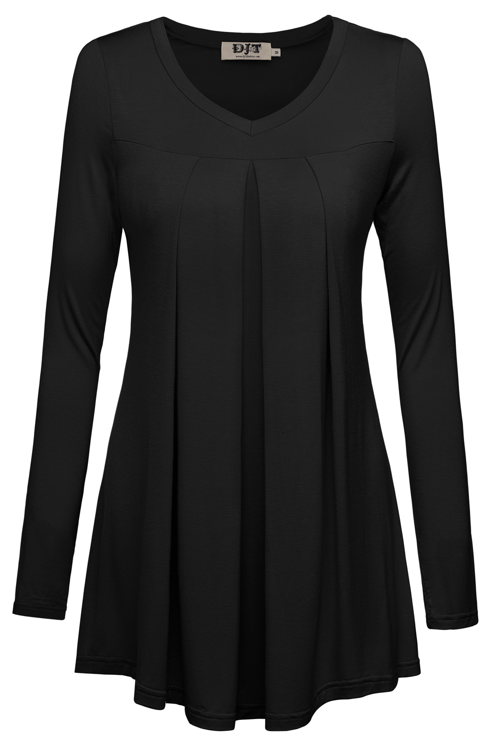 DJT Women's V Neck Long Sleeve Pleated Front Blouse Tunic Top Large Black