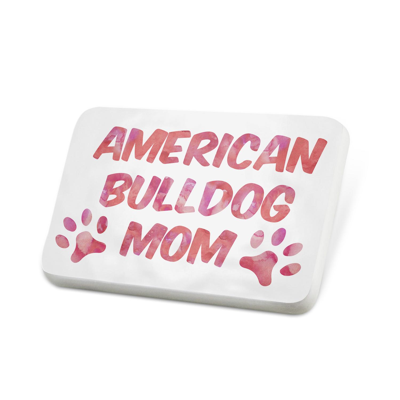 Porcelein Pin Dog & Cat Mom American Bulldog Lapel Badge – NEONBLOND
