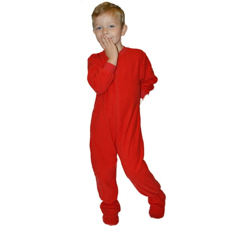 Big Feet PJs Little Boys Infant Toddler Red Fleece Footed Pajamas Sleeper