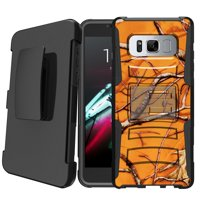 Samsung Galaxy S8 Active SM-G892 [NOT FOR REG S8] Holster Case [ Case for Boys][Cool Phone Case Series]Built-In Kickstand + Bonus Holster - USA Skull