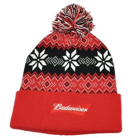 Budweiser - Budweiser Pom Pom Knit Beanie Toque Cuffed Beer Winter  Snowflake Pattern Red - Walmart.com 50d4aa351e82