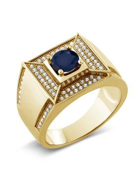 2.10 Ct Round Blue Sapphire 18K Yellow Gold Plated Silver Men's Ring