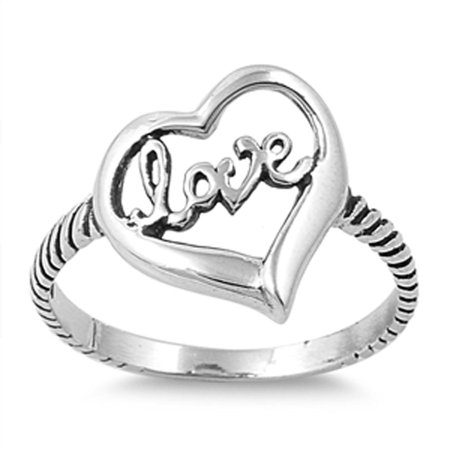 CHOOSE YOUR STYLE Love Heart Word Promise Ring New .925 Sterling Silver Bali Rope -