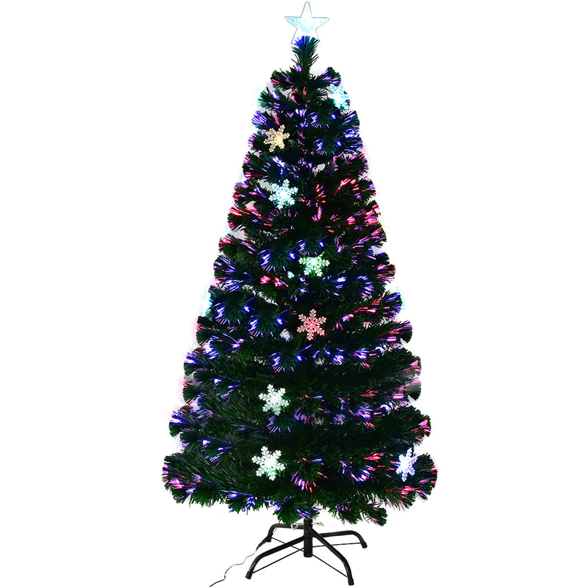 Gymax 7' Pre-Lit Multi-Color Lights Fiber Optic Artificial Christmas Tree with Snowflakes
