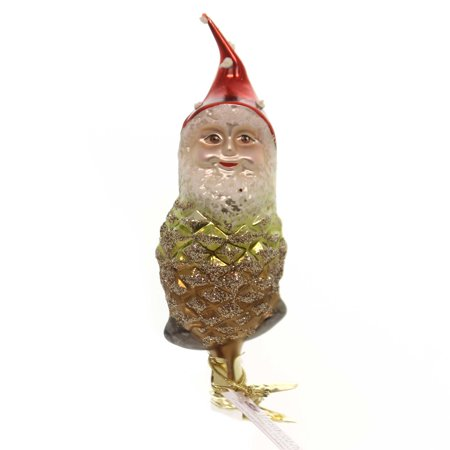 Inge Glas PINECONE GNOME ENCHANTED FOREST Glass Glittered 10013S017
