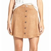 Jolt NEW Beige Size 9 Junior Button Down Faux Suede A-Line Skirt