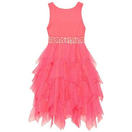 Tween Diva Girls Coral Glitter Stone Encrusted Cascade Ruffle Dress - Tween Dance Dresses