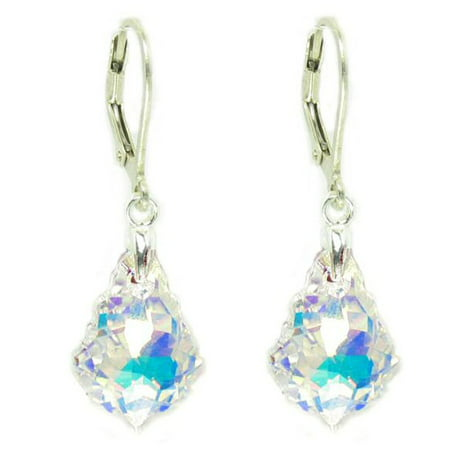 Clear Aurora Borealis Swarovski Elements Crystal Sterling Silver Leverback Dangle Earrings