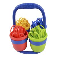 Westcott School Caddy with 24 Pair Pointed Kids Scissors, Assorted Colors