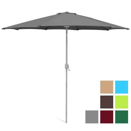 Best Choice Products 9ft Outdoor Water/UV-Resistant Market Patio Umbrella w/ Crank Tilt Adjustment, 180G Polyester, Wind Vent, 1.5in Diameter Aluminum Pole - Gray ()