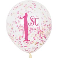 """12"""" Pink and Gold Girl's First Birthday Confetti Balloons, 6ct"""