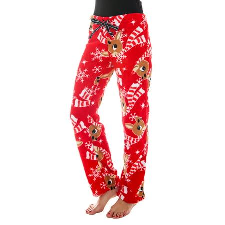 rudolph the red nosed reindeer rudolph the reindeer christmas juniors fleece pajama pants red walmartcom