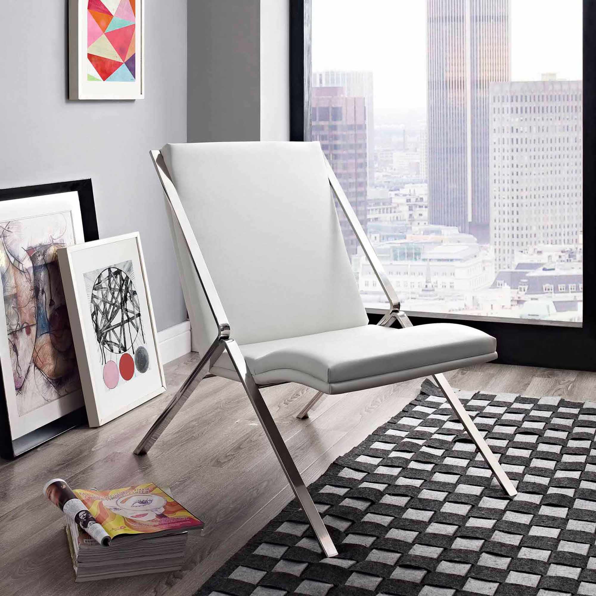 Modway Swing Leatherette Lounge Chair, Multiple Colors