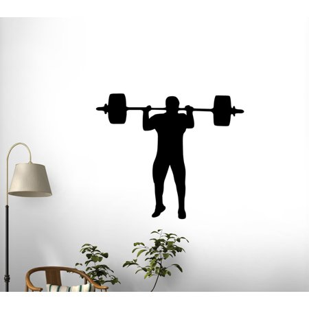 Weight Lifting Silhouette Peel and Stick Wall Decals (12 in W x 8 in H) WM56567 by (Decal Lift)