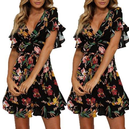 Womens Fashion Summer Vintage Boho Long Maxi Evening Party Beach Floral Dress