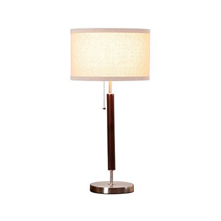 Brightech Carter LED Side Table, Nightstand & Desk Lamp - Classy Vintage with Stainless Steel Base Soft, Ambient Lighting Perfect for Living Room Office Bedside - Energy Efficient - Wood