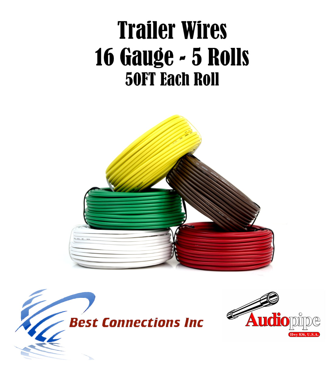 Trailer Light Harness Data Wiring Schema 5 Wire Way Cable For Led 50ft Each Roll 16 Tow
