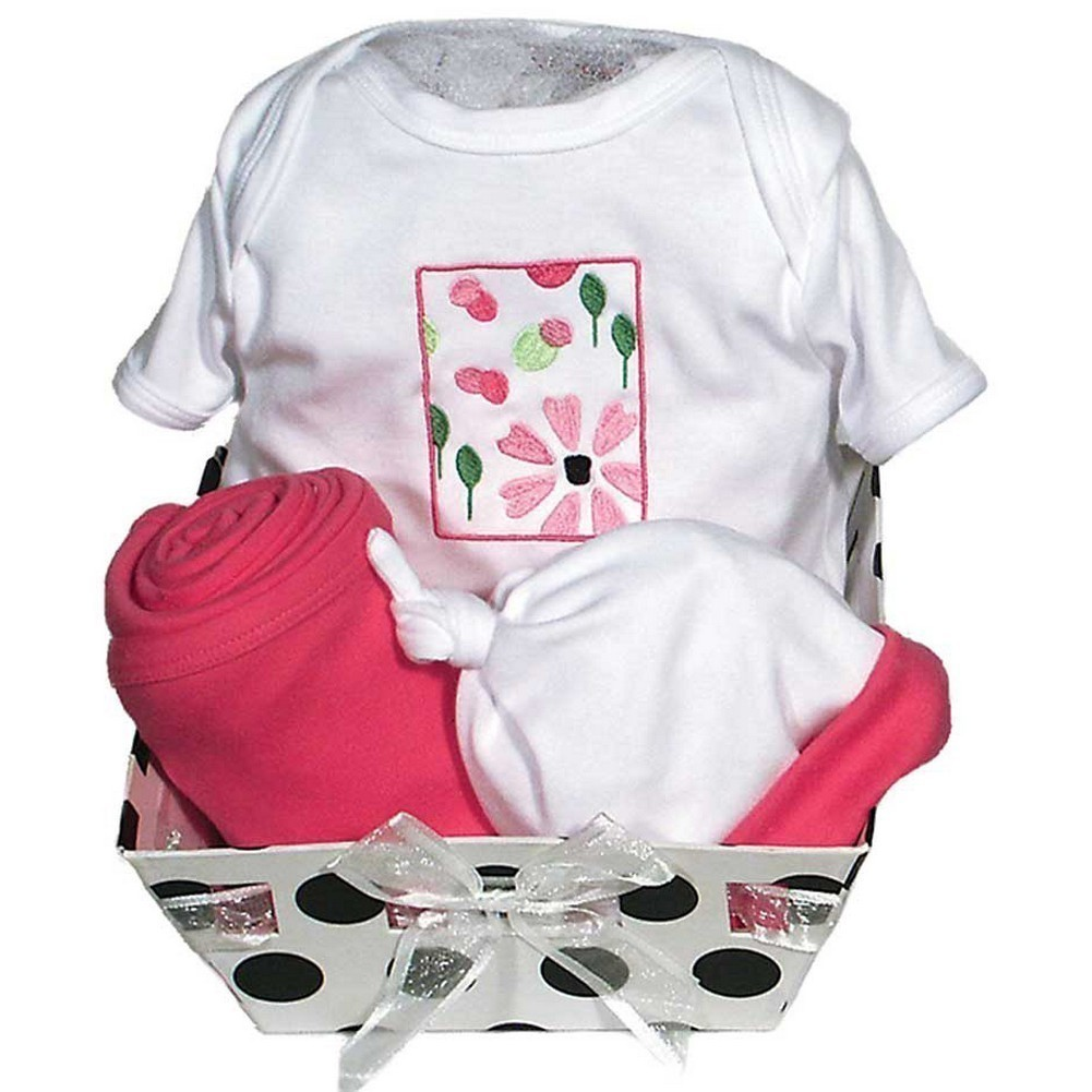 Raindrops Baby Girls Delightful Brights 4-Piece Flower Body Suit Gift Set, Strawberry 0-6M by Raindrops