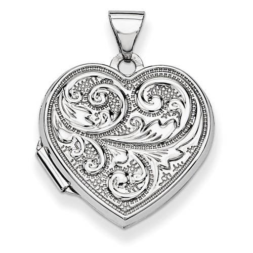 14k White Gold Scrolled Love you always Reversible Heart Locket by Jewelrypot