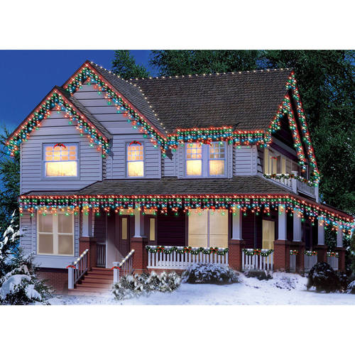 Holiday Time Icicle Light Set White Wire Multi Bulbs, 300 Count ...