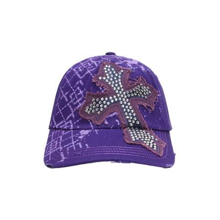 - topheadwear beaded cross distressed adjustable baseball cap