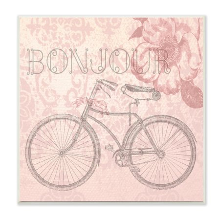 The Kids Room by Stupell Bonjour Vintage Bicycle Paris Wall Plaque Art