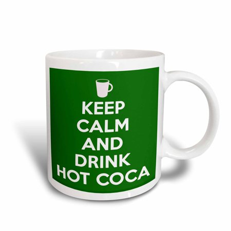 3dRose Keep calm and drink hot cocoa. Green., Ceramic Mug, 11-ounce
