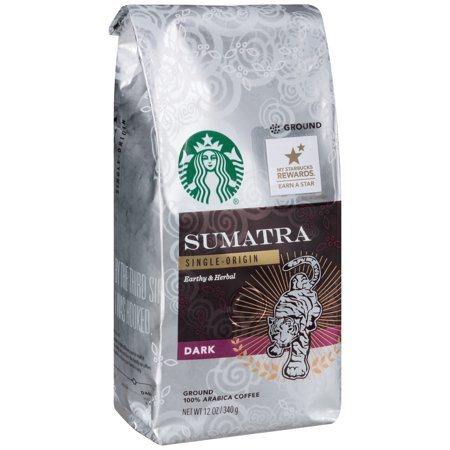 Sumatra Single  Origin Earthy   Herbal Dark Coffee 12 Oz  Package