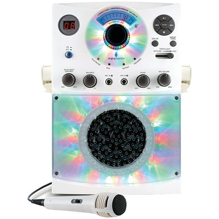 The Singing Machine SML385BTW Bluetooth Karaoke System with LED Disco Lights & Microphone (White)
